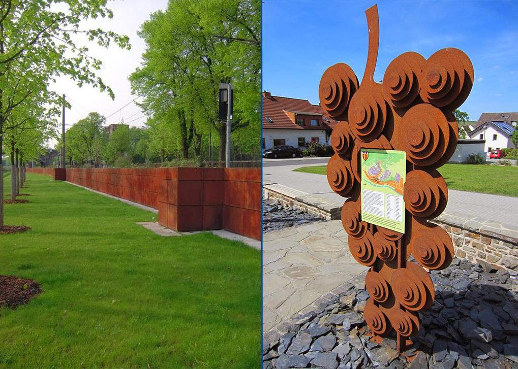 Beispiele einer Wasserschutzmauer und eines Kunstwerkes...