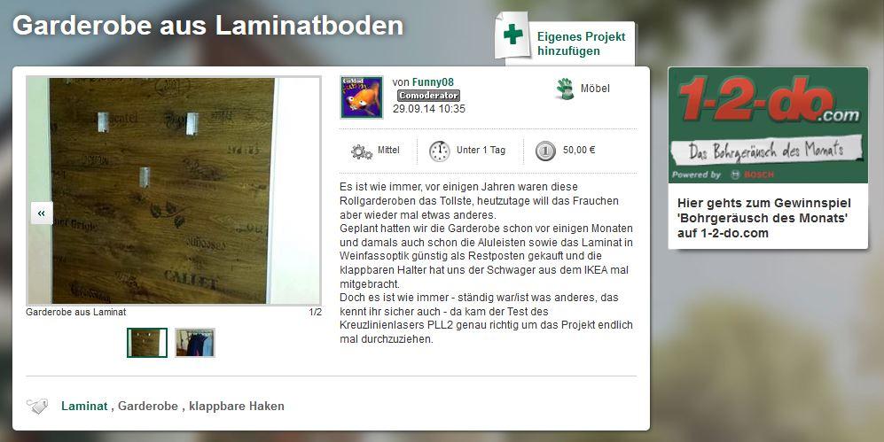 Ein tolles Projekt auf 1-2-do.com: die Garderobe aus Weinkisten-Laminat!