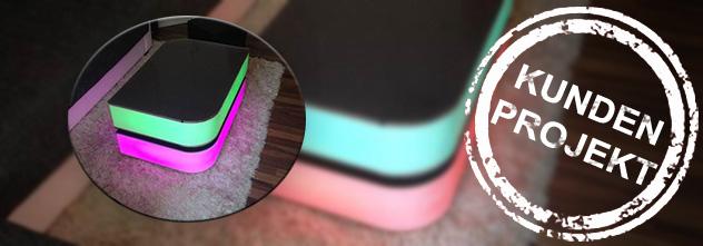Kundenprojekt: der beleuchtete Couchtisch für ein loungiges Wohnzimmer