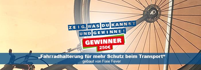 """Mit Fahrradaufhängung und """"Fixie-Fever"""" zum Gewinn bei ProKilo."""