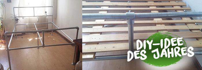 DIY-Bett im Industrial-Design – Gemütlichkeit Marke Eigenbau